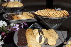 Cookie Buffet. All kinds of delicious baked cookies served up on buffet platters Royalty Free Stock Photo