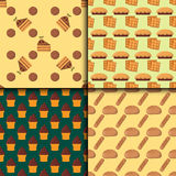 Cookie cakes seamless pattern tasty snack delicious chocolate homemade pastry biscuit vector illustration. Cookie cakes seamless pattern tasty snack delicious Royalty Free Stock Photo