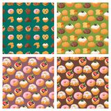 Cookie cakes tasty snack delicious chocolate homemade pastry biscuit sweet dessert bakery food seamless pattern. Cookie cakes tasty snack delicious chocolate Royalty Free Stock Photo