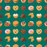 Cookie cakes tasty snack delicious chocolate homemade pastry biscuit sweet dessert bakery food seamless pattern. Cookie cakes tasty snack delicious chocolate Stock Photos