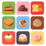 Cookie cakes tasty snack delicious chocolate homemade pastry biscuit sweet dessert bakery food vector illustration. Cookie cakes tasty snack delicious chocolate Royalty Free Stock Photos