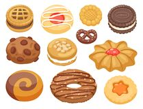 Cookie cakes top view sweet homemade breakfast bake food biscuit bakery cookie pastry illustration. Baked delicious chocolate tasty snack stock illustration