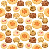 Cookie cakes top view sweet homemade breakfast bake food biscuit pastry seamless pattern background vector illustration. Cookie cakes top view sweet homemade Royalty Free Stock Photography