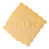Cookie with CALL ME sign Royalty Free Stock Photography