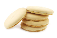 Cookie called Friese theekoek on a white background. Stacked traditional Dutch (Frisian) cookie called Friese theekoek on a white background Royalty Free Stock Photo