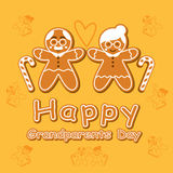 Cookie Cartoon Grandparents Day Card. stock illustration