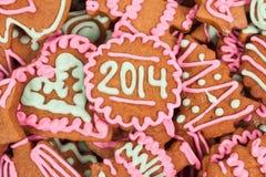 Cookie caseiro do ano novo com número 2014 Imagens de Stock