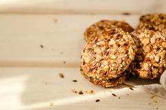 Cookie caseiro doce com flocos da aveia Fotografia de Stock Royalty Free