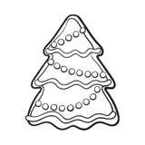 Cookie caseiro vitrificada do pão-de-espécie da árvore de Natal ilustração do vetor