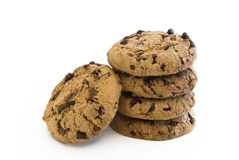 Cookie with chocolate pieces. Stack of cookies with chocolate chips stock image