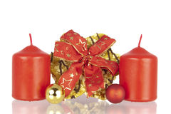 Cookie Christmas ribbon balls candles Stock Image