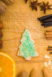 Cookie with christmas tree shape Stock Images