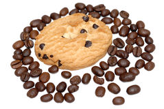 Cookie and coffee beans isolated Royalty Free Stock Images