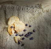 Cookie and coffee beens on sacks background Royalty Free Stock Photo