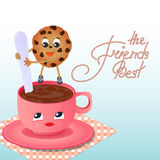A cookie with a coffee cup. Friendship Day. Royalty Free Stock Images