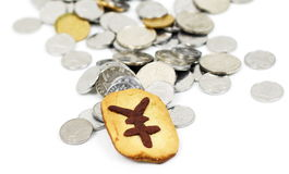 Cookie and coins Stock Image