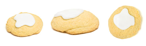 Cookie Collage. Home Baked Biscuit with white icing collage isolated on white Royalty Free Stock Photos