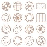 Cookie, cracker and biscuit outline icon set Royalty Free Stock Photos