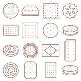 Cookie, cracker and biscuit outline icon set Stock Photography
