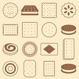 Cookie, cracker and biscuit, silhouette icon collection set Royalty Free Stock Photography