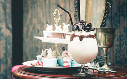 Cookie and cream shake in cafe Royalty Free Stock Image