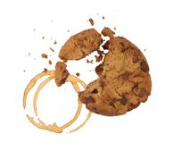 Cookie with crumbs and coffee Stock Photos