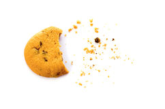 Cookie with crumbs overhead view isolated on white.  Royalty Free Stock Photography