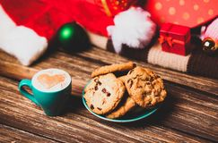 Cookie and cup of coffee royalty free stock photography