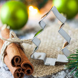 Cookie cutter with cinnamon Stock Photography