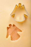 Cookie cutter on dough Royalty Free Stock Photography