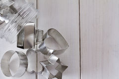 Cookie Cutter Shapes in a Jar with Copy Space from Above Royalty Free Stock Photos
