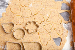 Cookie cutters on fresh dough Royalty Free Stock Image