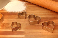 Cookie Cutters, Rolling Pin & Sifted Flour on Cutt Stock Photo