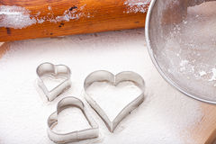 Cookie cutters and rolling pin Stock Photos