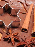 Cookie cutters and spice on dough for gingerbread Stock Image