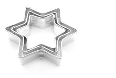 Cookie cutters. Stars Cookie cutters  on white background Royalty Free Stock Photography