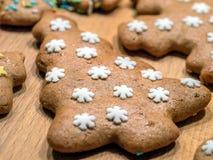 Cookie da árvore de Natal do pão-de-espécie fotografia de stock