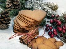 Cookie dada forma coração do pão-de-espécie imagem de stock royalty free