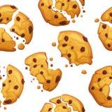 Cookie de farinha de aveia com teste padrão das migalhas do chocolate Teste padrão das cookies do alimento dos doces ilustração stock