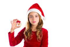 A cookie de Santa do Natal e o vestido do Xmas caçoam a menina Imagens de Stock Royalty Free