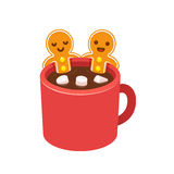 Cookie do homem de pão-de-espécie no copo do chocolate quente ilustração stock