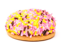 Cookie do marshmallow com Sugar Sprinkles colorido Imagens de Stock