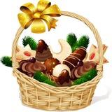 Cookie do Natal na cesta ilustração do vetor