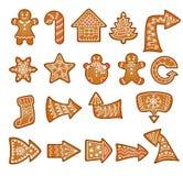 A cookie do pão do gengibre do Natal do vetor ajustou-se com setas Fotografia de Stock Royalty Free