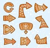 A cookie do pão do gengibre do Natal do vetor ajustou-se com setas Imagens de Stock Royalty Free