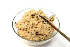 Cookie dough. Chocolate chip cookie dough in a glass bowl Stock Photo