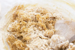 Cookie dough being mixed with a wooden spoon Stock Photography