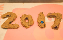 2017 In Cookie Dough. Chocolate candy cookie dough formed in the shape of `2017 Stock Image