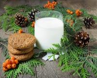 Cookie e leite do Natal para Santa Foto de Stock