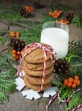 Cookie e leite do Natal para Santa Imagem de Stock